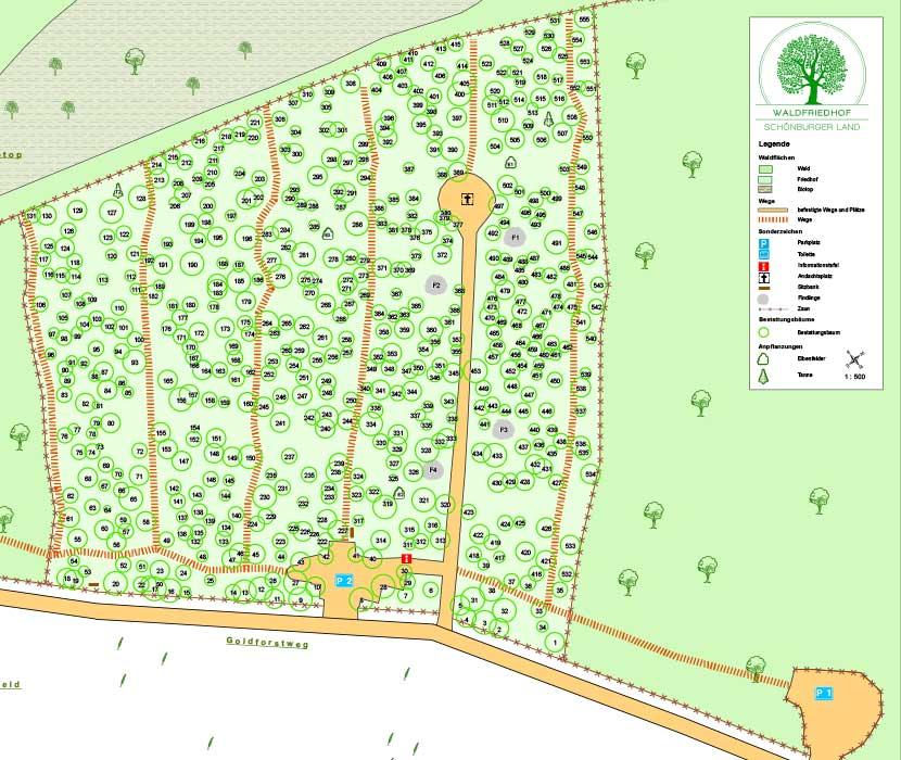 Waldgräber im Bestattungswald in der Übersichtskarte