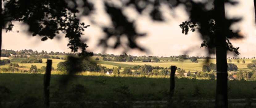 Blick vom Friedhof auf umgebende Felder, Dörfer und Wälder