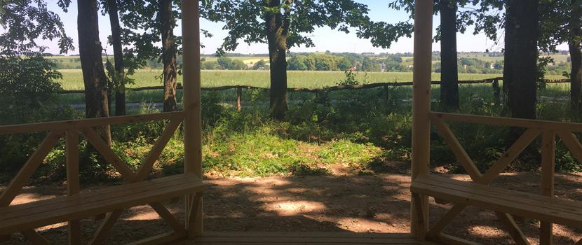 Blick aus dem Pavillon im Waldfriedhof Schönburger Land